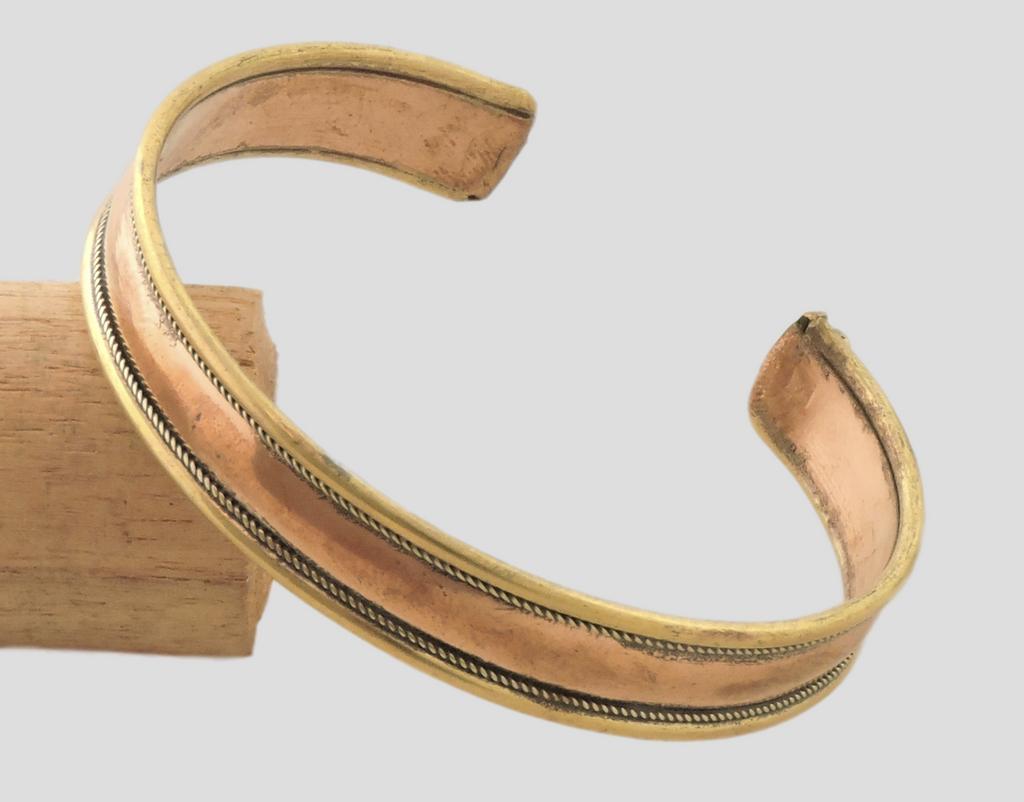 Simple Flat Three Metal Cuff Bracelet