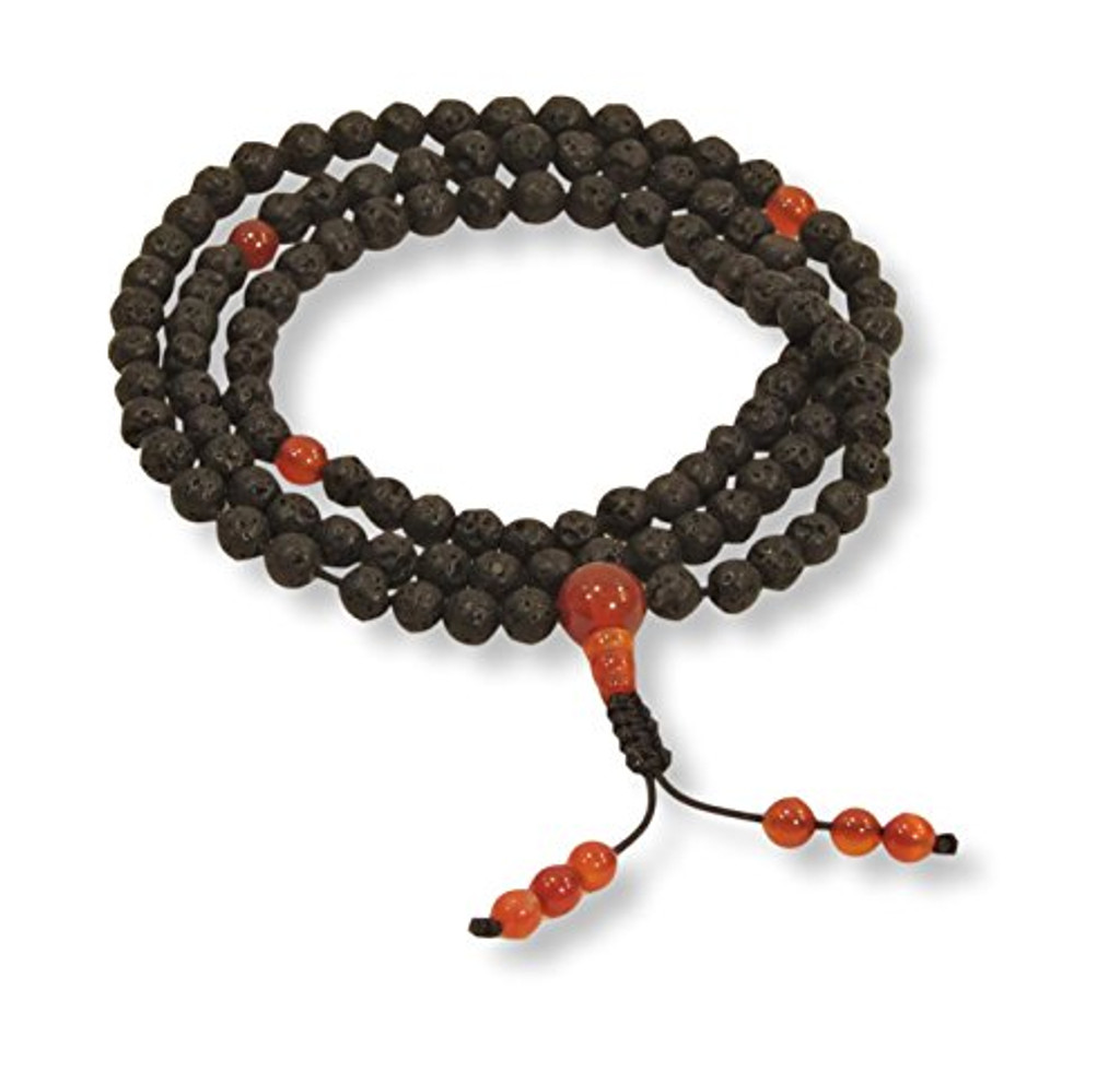 Small Lava Rock 108 Bead Healing Yoga Mala Pendants, Necklaces for Meditation (Black small lava 3 carnelian, 14)