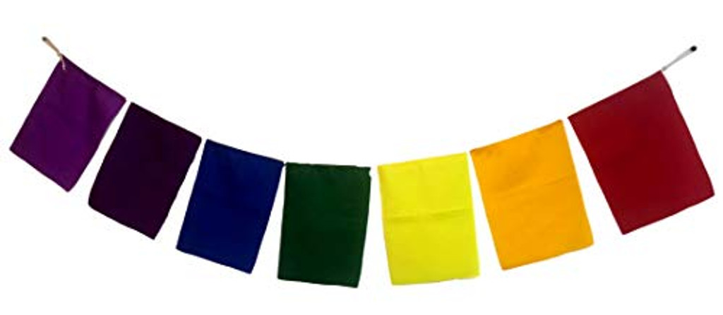 Blank Prayer Flags Set of 7 Flags Put Your own Prayers (Seven Chakra)