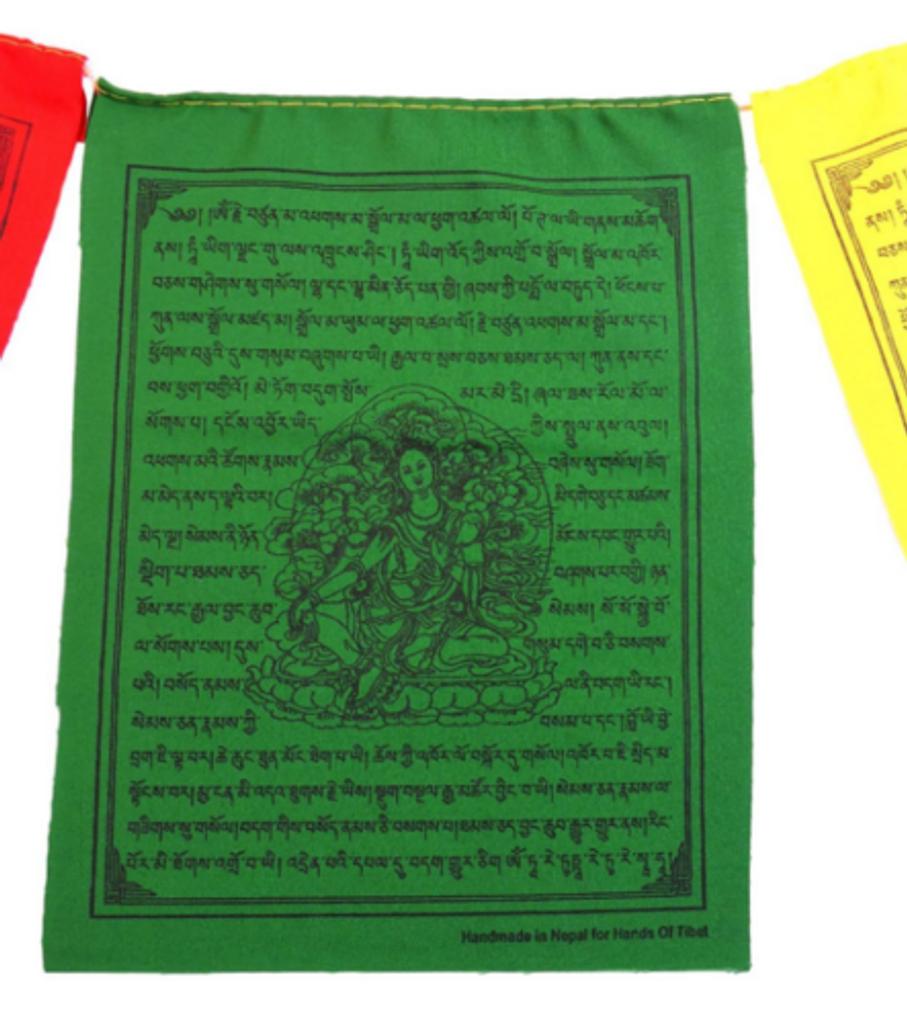 """Handmade Green Tara Prayer Flags - Set of 10 Flags, 6""""x8"""""""