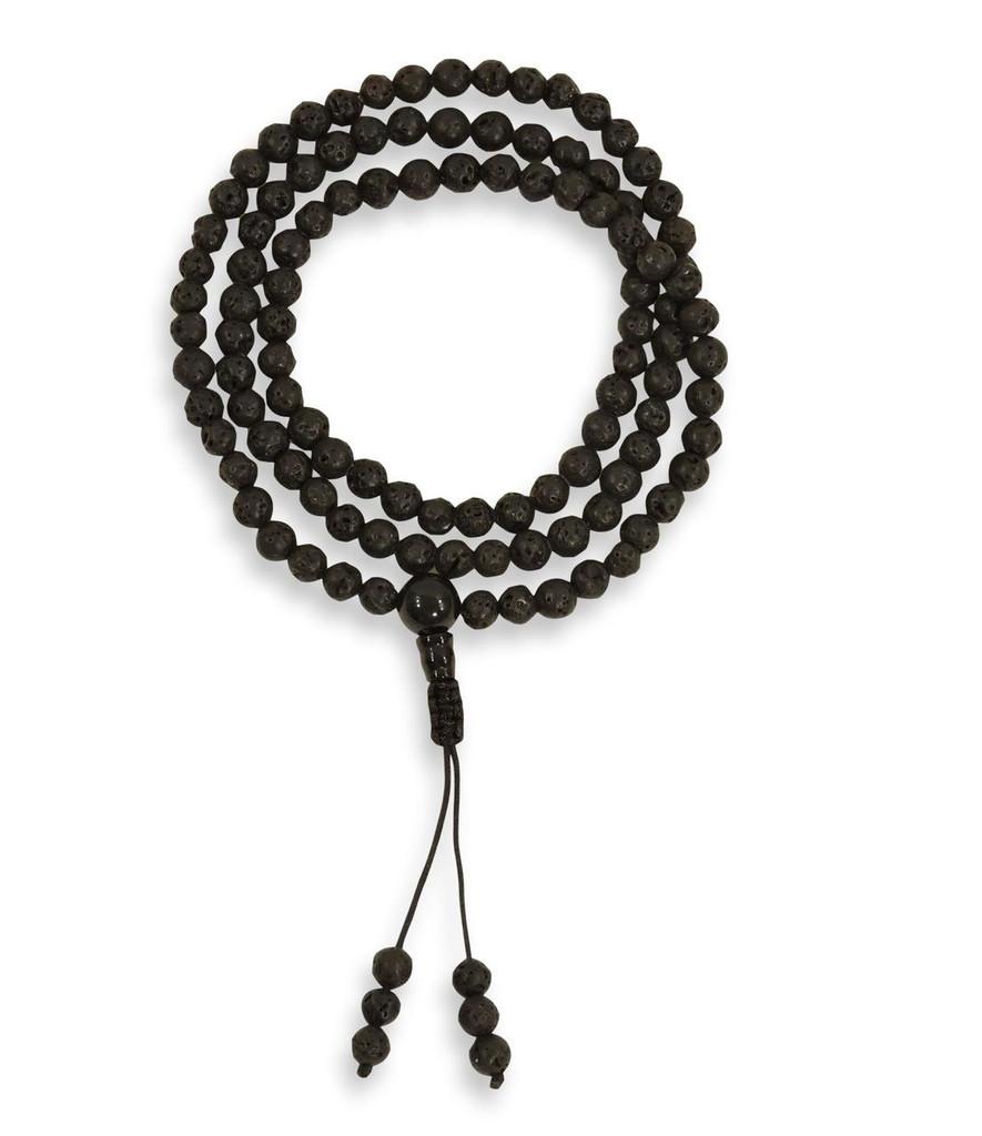 Small Lava Rock 108 Bead Healing Yoga Mala with Black Onyx Guru Bead for Meditation, Pendants, Necklaces
