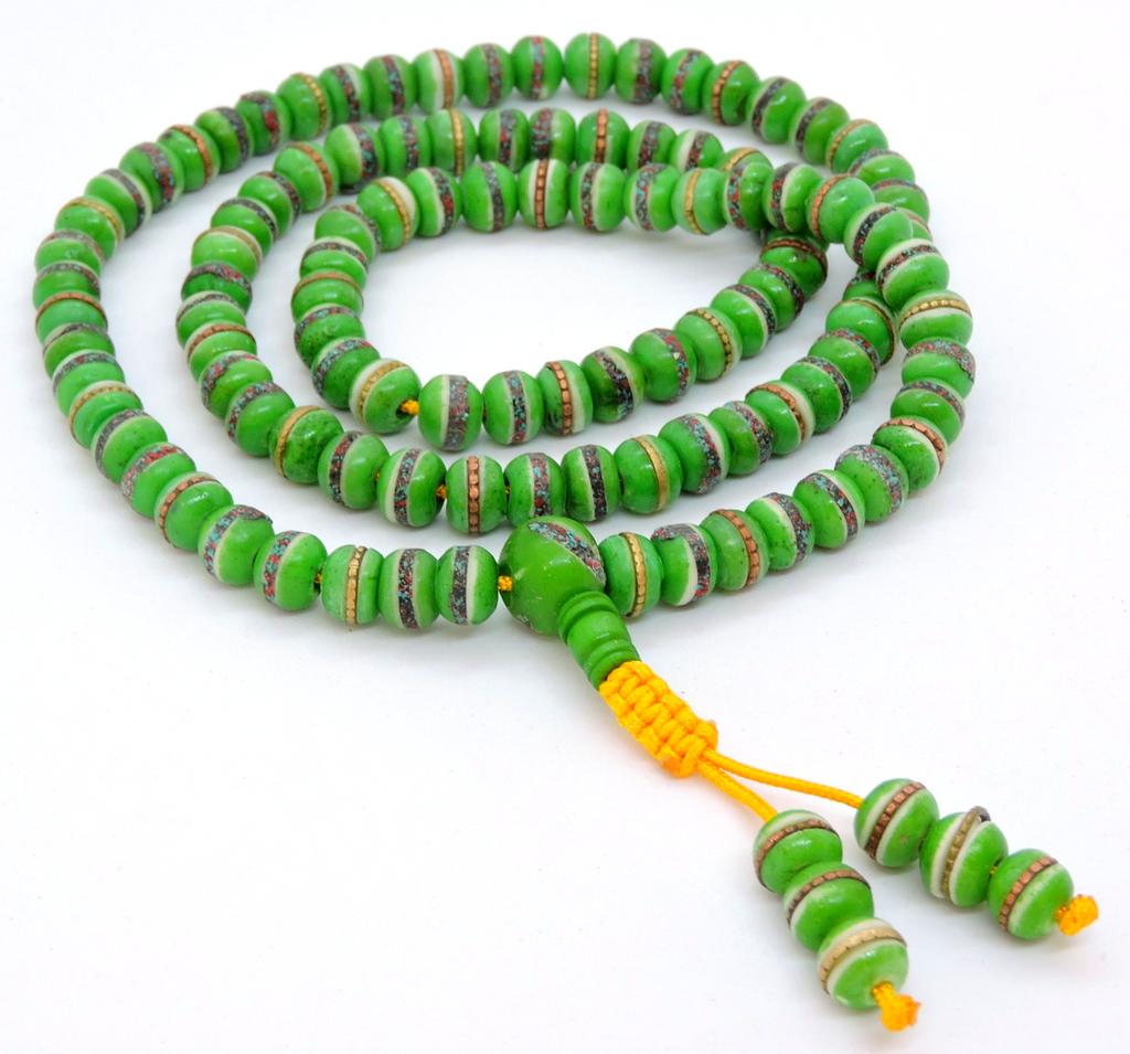 Tibetan Himalayan Yak Bone 108 Beads Embedded Tibet Healing Yoga Necklace for Meditation (Green)