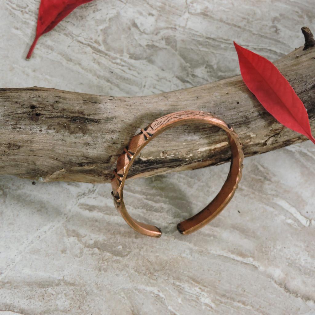 Diamond and Wave Copper Cuff Bracelet - Style 12