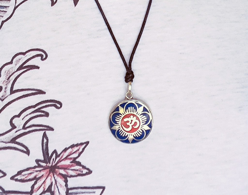 Handmade Tibetan Turquoise, Coral, Lapis Om Pendant from Nepal (Flower Om)