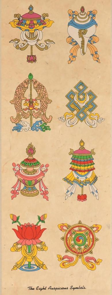 8 Auspicious Symbols Handmade Paper Wall Hanging From Nepal