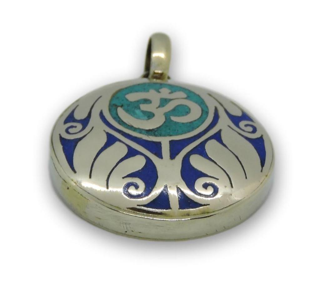 Handmade Tibetan Turquoise, Coral, Lapis Om Pendant from Nepal (Turquoise Om)
