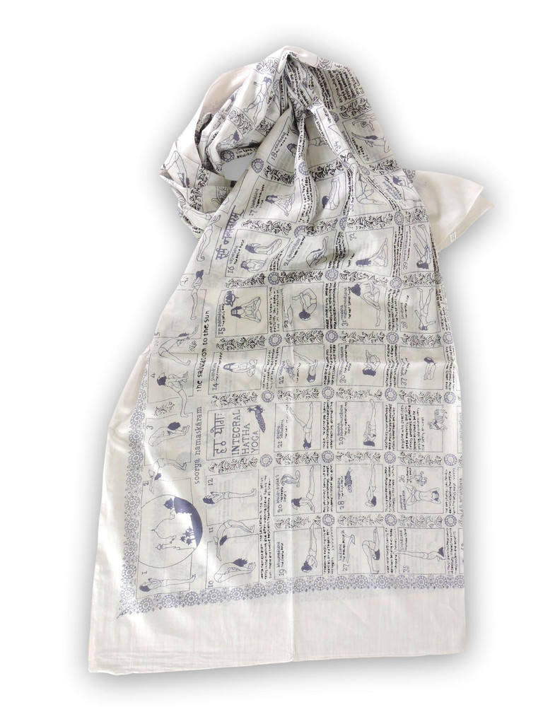 Handmade Yoga Pose Meditation Shawl/Scarf Cotton Scarf Tapestry, Wall Hanging, Wall Decor, Prayer Shawl (White)