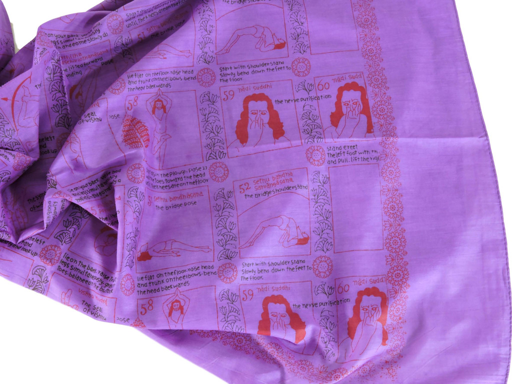 Handmade Yoga Pose Meditation Shawl/Scarf Cotton Scarf Tapestry, Wall Hanging, Wall Decor, Prayer Shawl (purple)