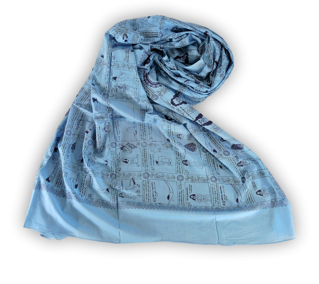 Handmade Yoga Pose Meditation Shawl/Scarf Cotton Scarf Tapestry, Wall Hanging, Wall Decor, Prayer Shawl (Blue)