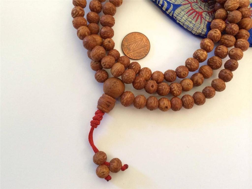 Small Raktu Seed Tibetan 108 Bead Mala (Bodhi seed alike unpolished seeds) BSM-123