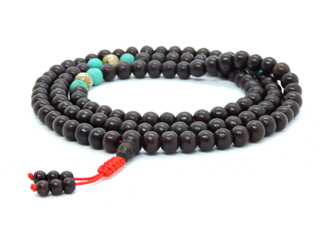 Handmade Rosewood 108 beads mala prayer beads with buddha of compassion conch shell and turquoise spacers for meditation