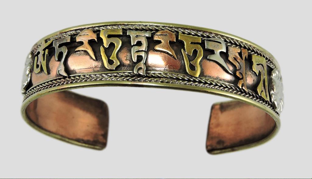 Handmade Tibetan Three Metal Healing Mantra Yoga Bracelet (Green Tara Mantra)