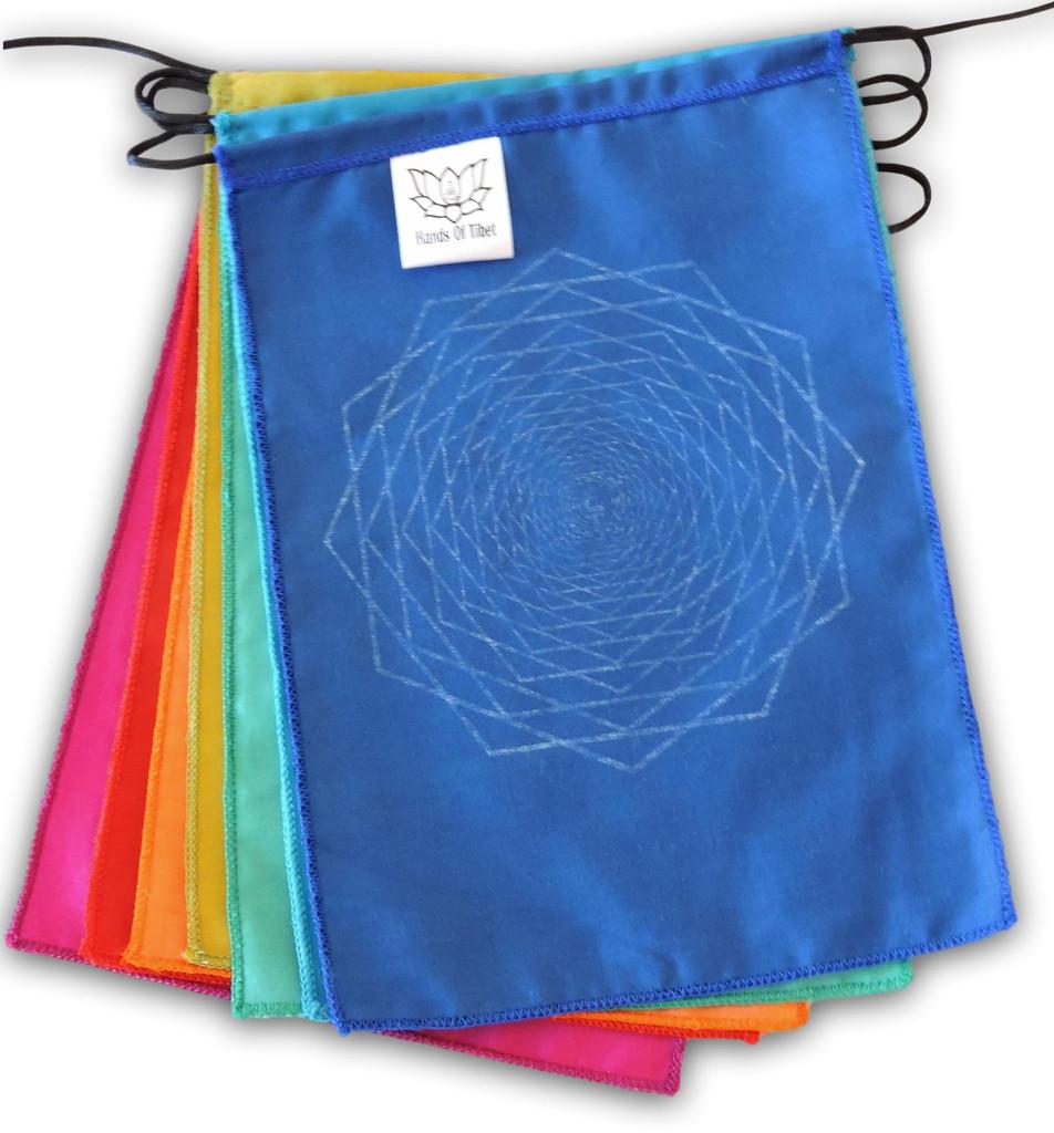 "Sacred Geometry Rainbow Prayer Flags Positive Energy Shri Yantra, Flower of Life, Seed of Life, 9X12"""