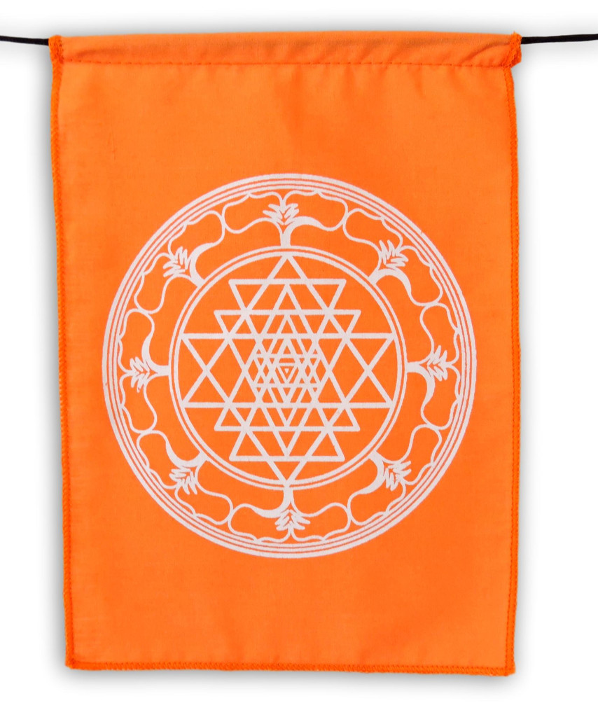 Sacred Geometry Rainbow Prayer Flags Positive Energy Shri Yantra, Flower of Life, Seed of Life, 9X12""