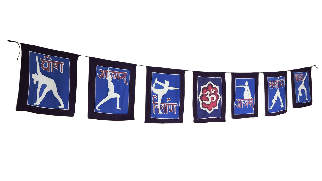 Hand painted Yoga poses Prayer flags Wall hanging Yoga meditation Decor