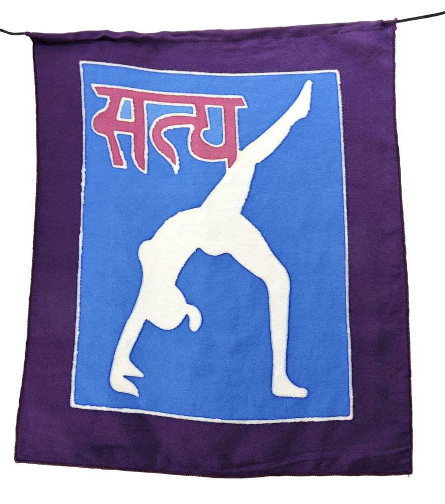Hand painted Yoga poses Prayer flags Wall hanging Yoga meditation Decor