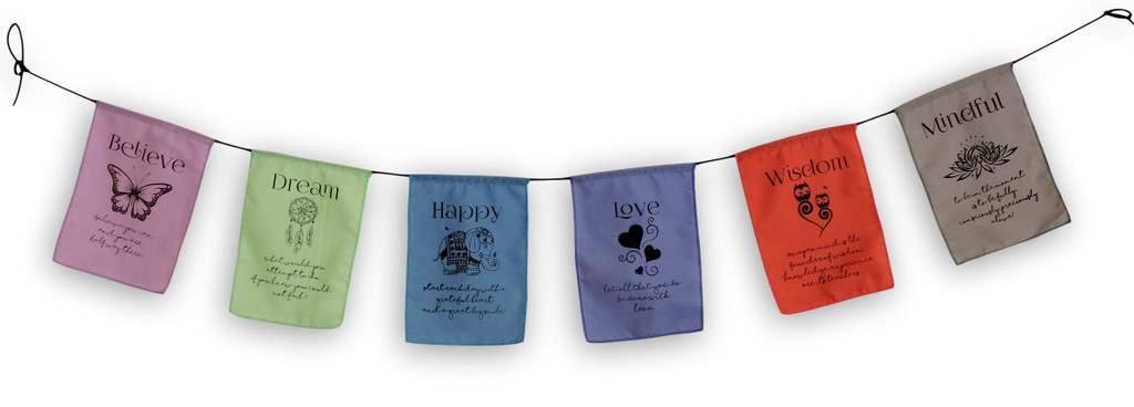 Handmade Believe, Dream, Happy, Love, Wisdom, Mindful Affirmation Prayer Flags