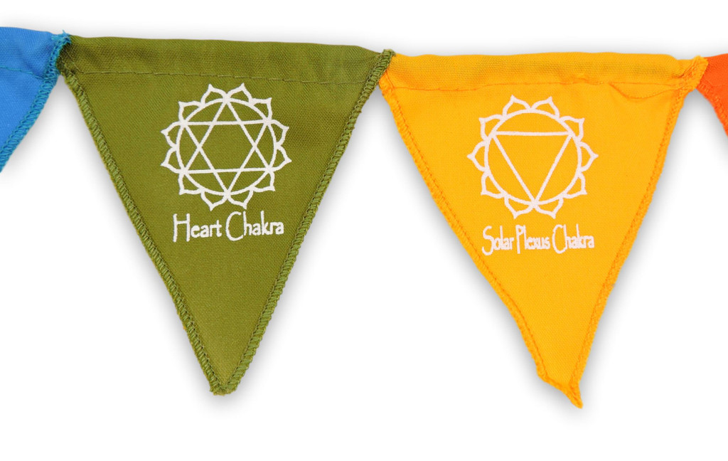Handmade Small Triangle Seven Chakra Magnet Prayer Flags