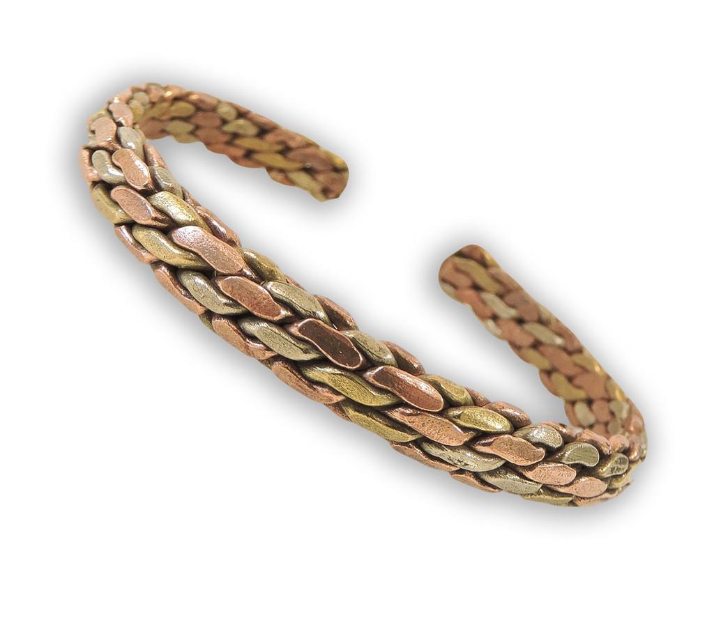 Handmade Tibetan Three Metal Medicine Bracelet from Nepal (S13)