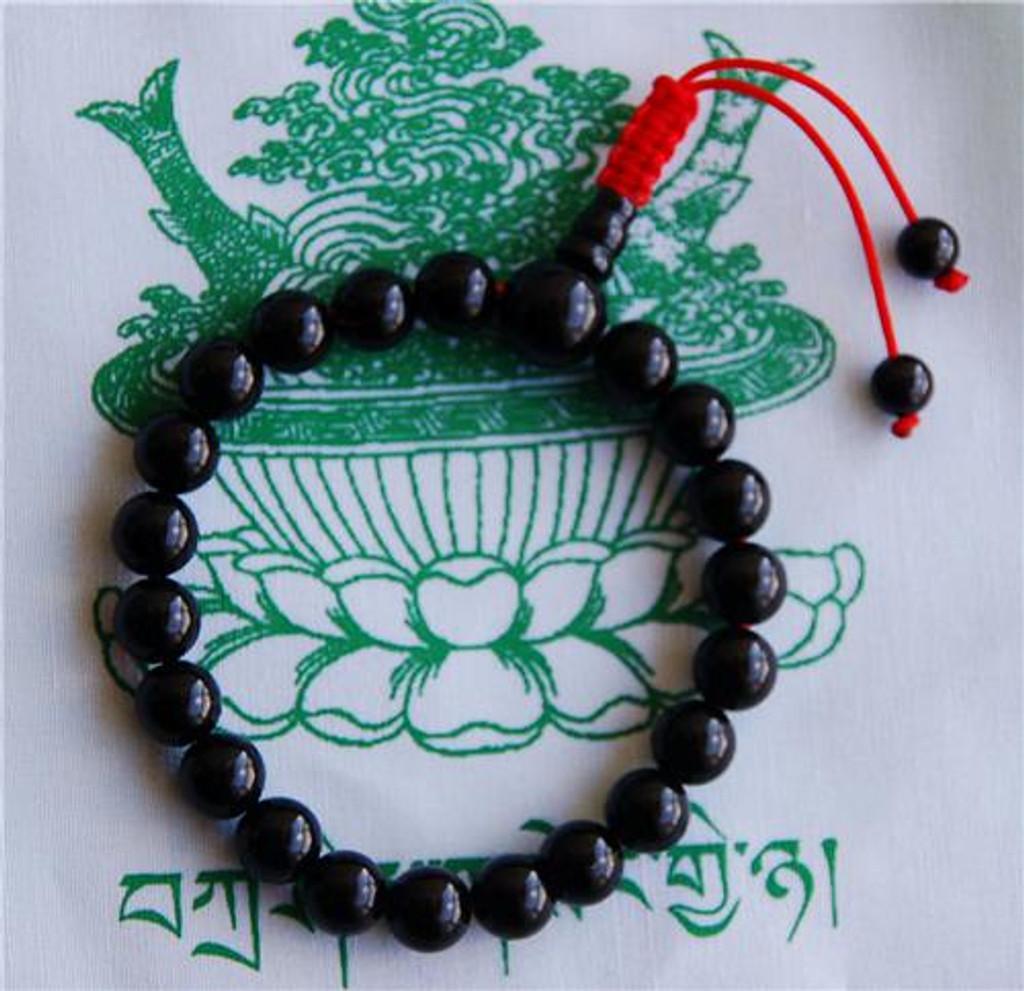 BLACK ONYX WRIST MALA/ BRACELET FOR MEDITATION WITH GURU BEAD
