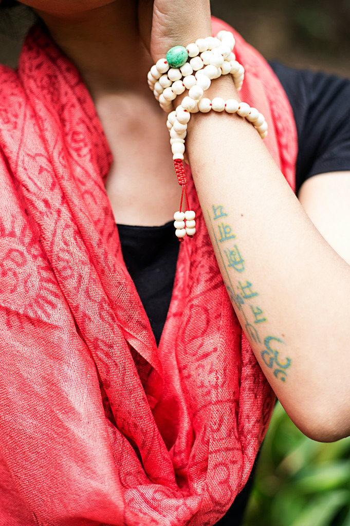 Handmade Yoga Om Nama Shiva Prayer Shawl/ Scarf (red)