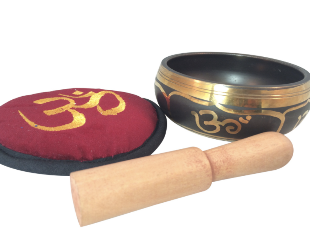 Tibetan yoga Meditation OM Singing bowl with Embroidered Om Cushion and Mallet