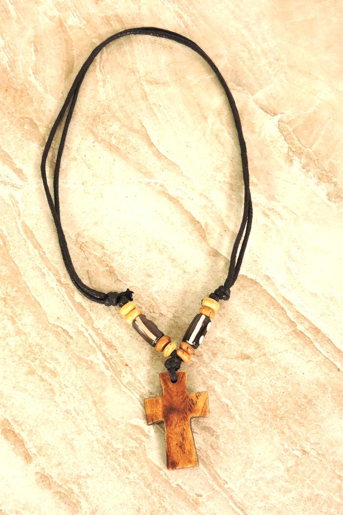 Handmade Cross Tibetan Yak Bone Pendant