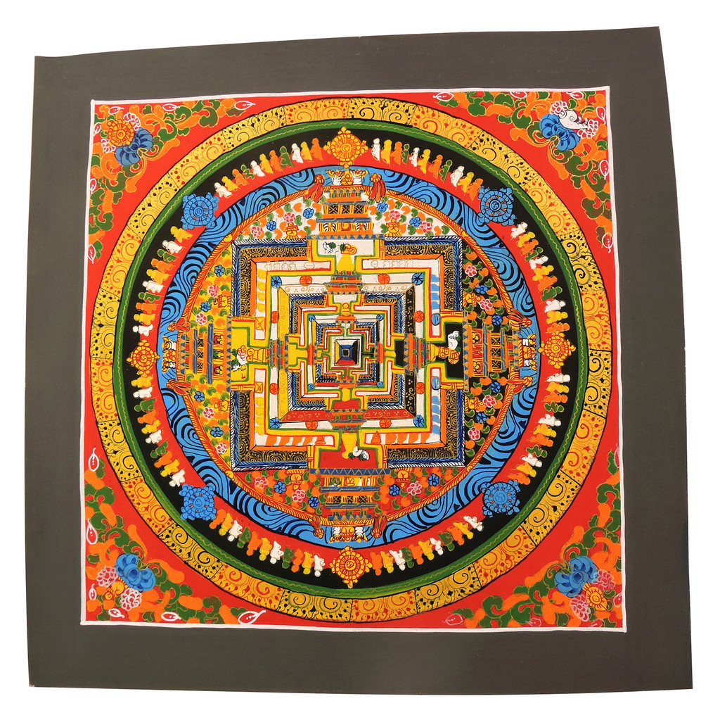 Handmade Kalachakra mandala Tibetan Thangka Painting From Nepal (Red)