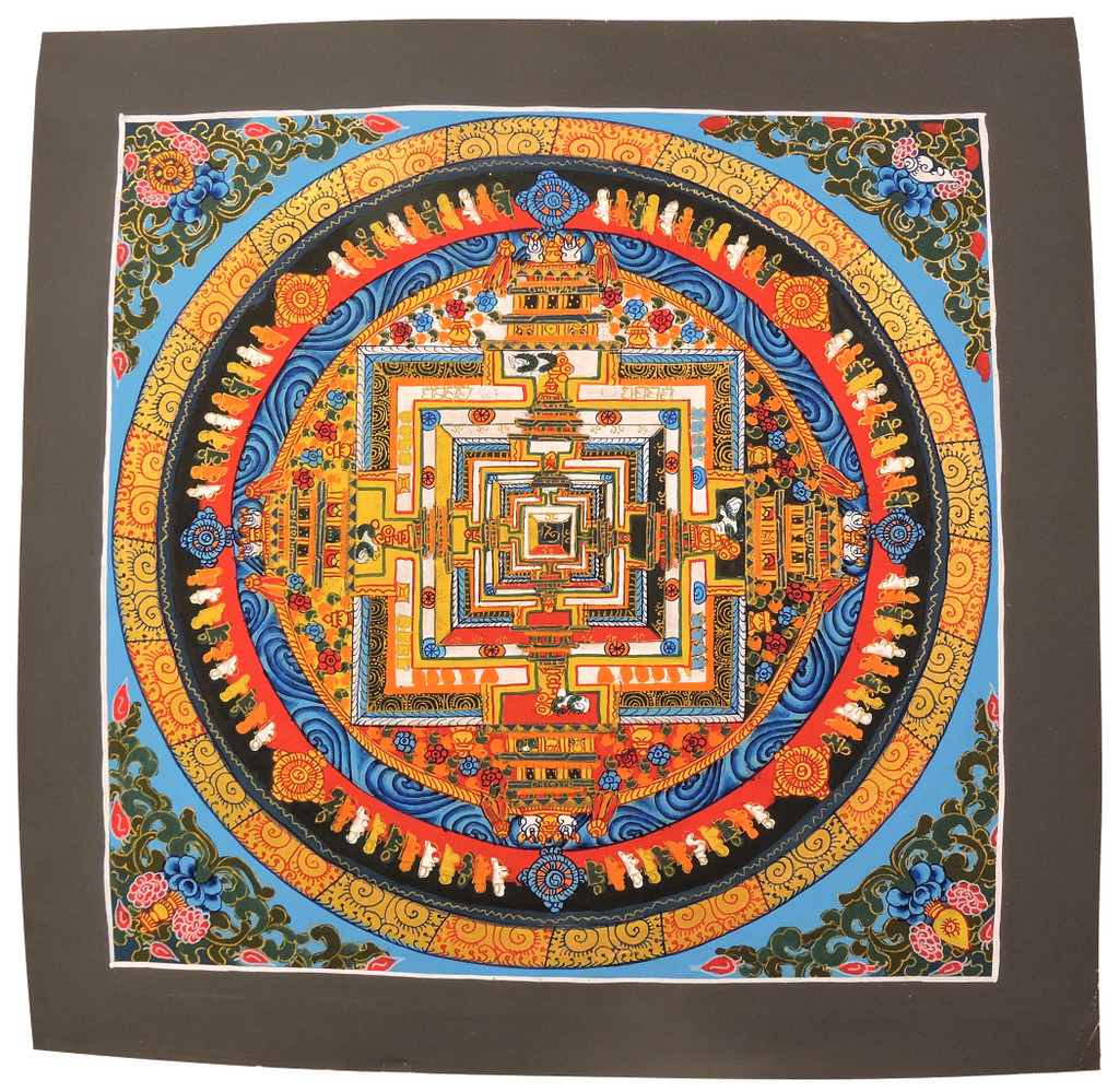 Handmade Kalachakra mandala Tibetan Thangka Painting From Nepal (Sky Blue)