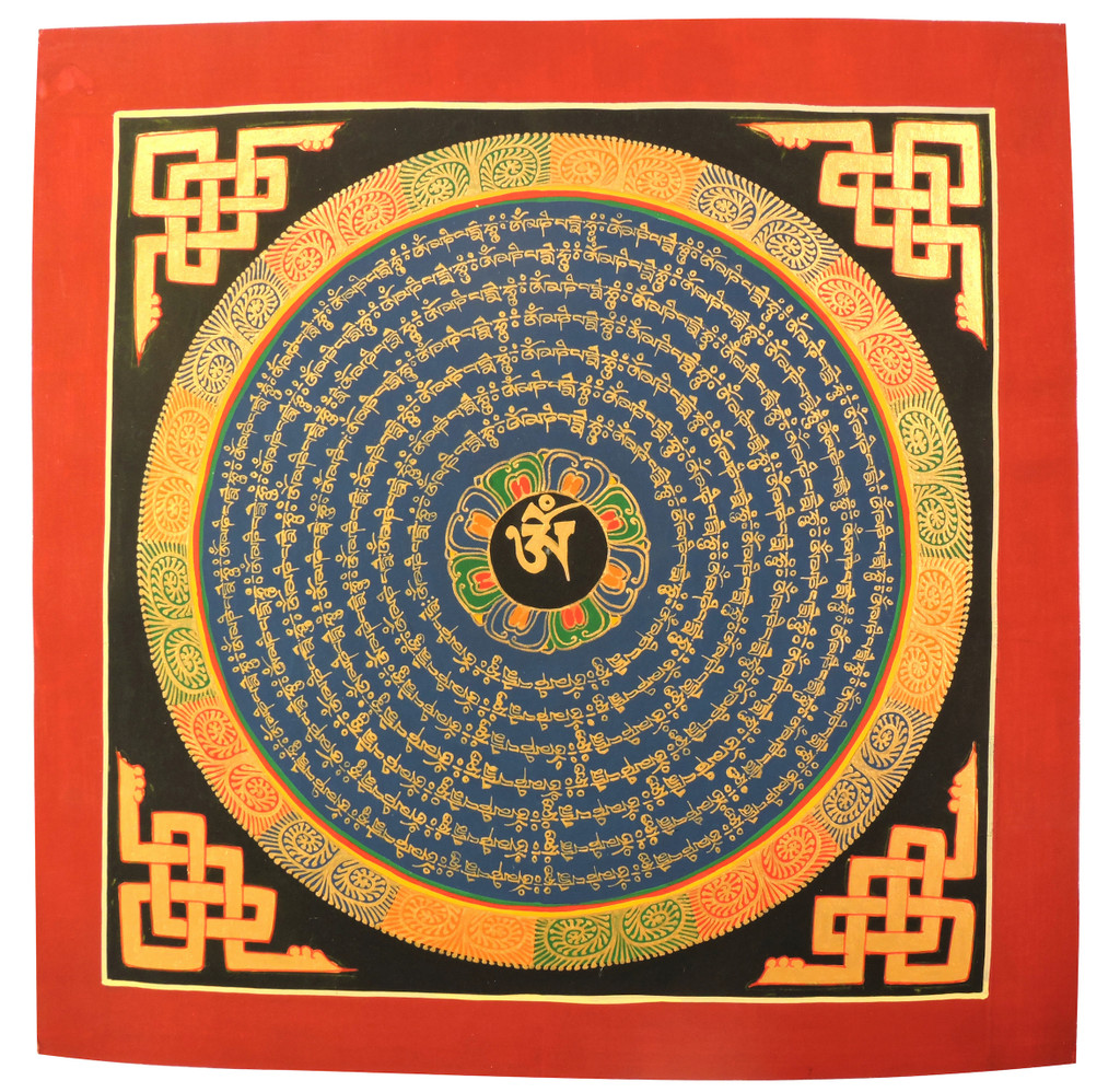 Buddha Of Compassion Mandala Tibetan Thangka Hand Painted In Nepal