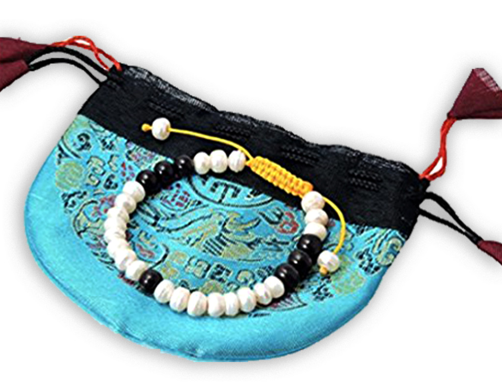 Mother of Pearl and Rosewood Wrist Mala Yoga Bracelet