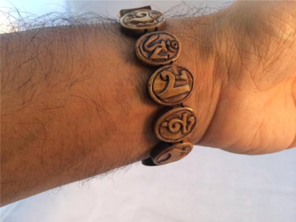 Om Mani Padme Hum Carved Yak Bone Bracelet From Nepal