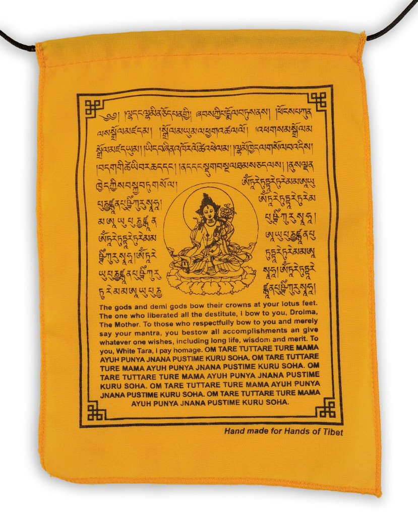 Handmade White Tara Prayer Flags with English Translation ( 9X12)