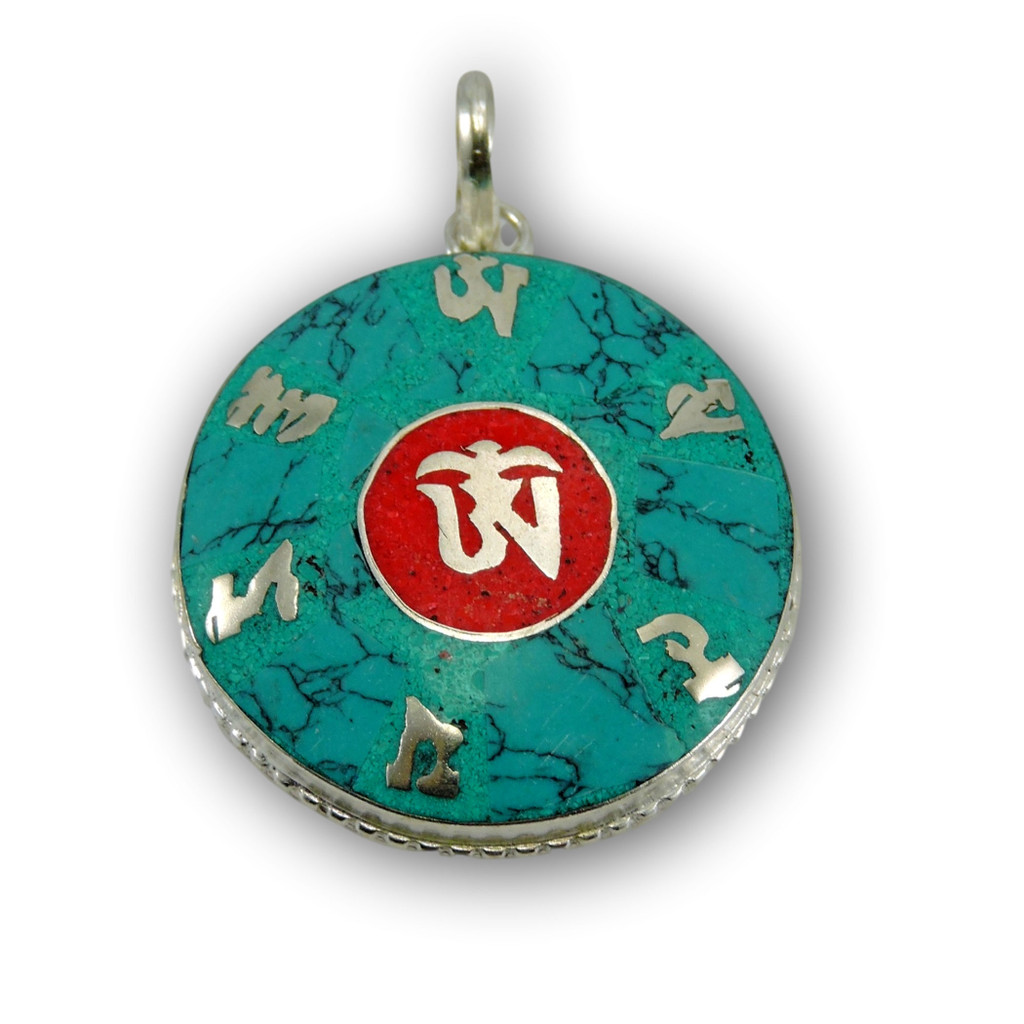 Hand Crafted Turqouise Coral Om Pendant From Nepal