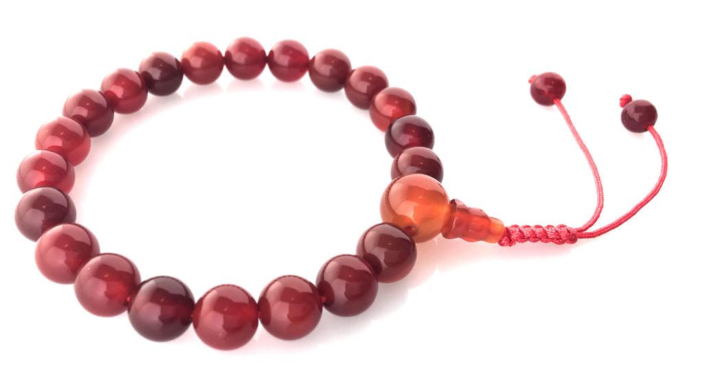 Tibetan Mala Carnelian Wrist Mala/Bracelet for Meditation (Guru Bead)