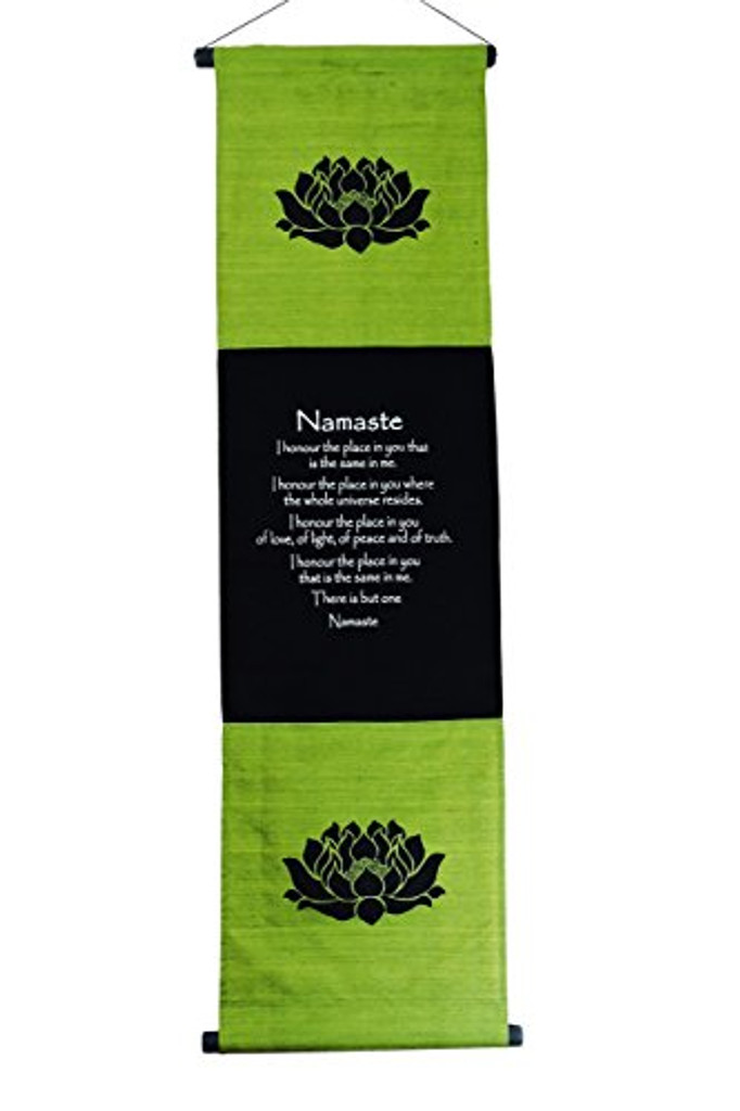 Large Cotton Namaste Inspirational Yoga Banner Scroll Style Three Color Choice (Olive Green)