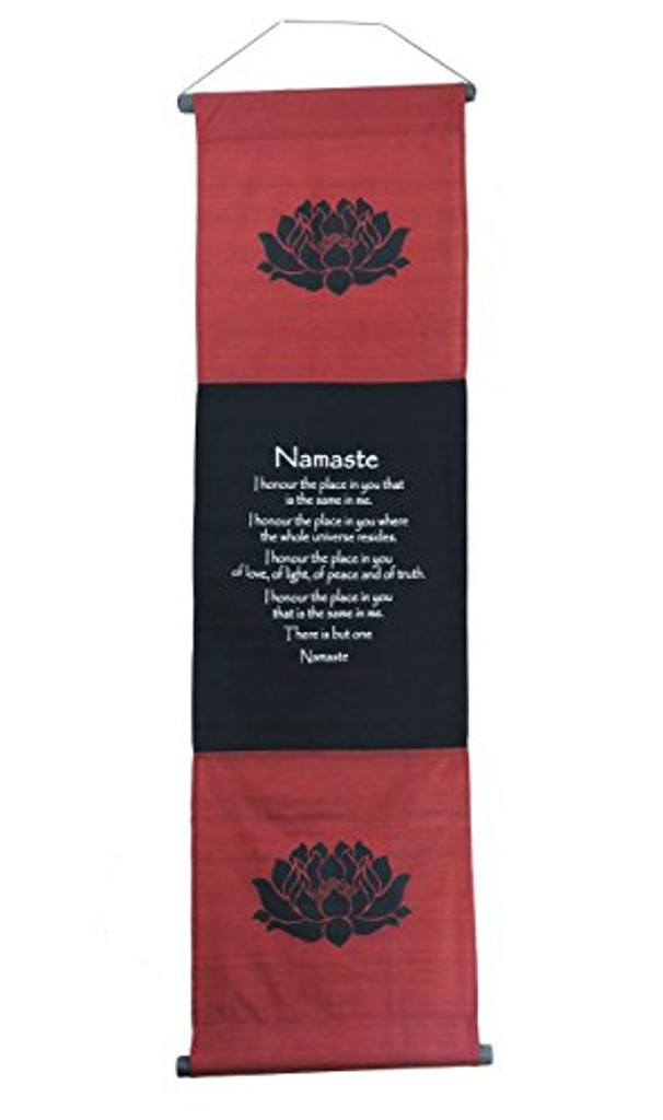 Large Cotton Namaste Inspirational Yoga Banner Scroll Style (Burgundy)