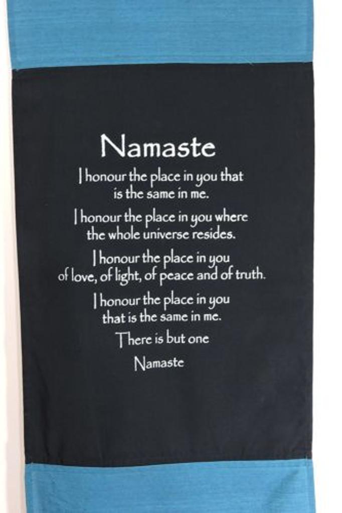 Large Cotton Namaste Inspirational Yoga Banner Scroll Style (Turquoise)