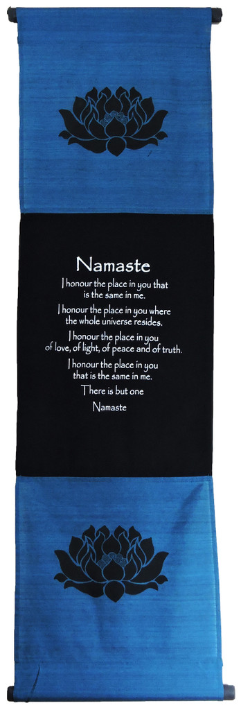 Large Cotton Namaste Inspirational Yoga Banner Scroll Style wall hanging (Turquoise)