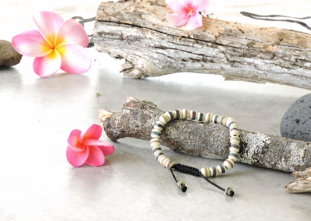 Embedded Medicine Bracelet Adjustable Wrist Mala Beads for Meditation (White)