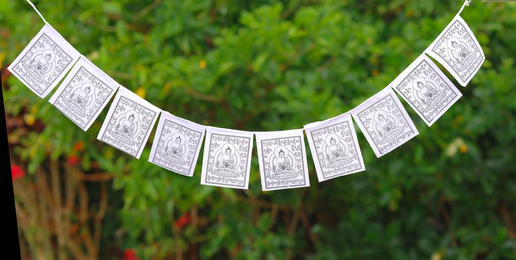Medicine Buddha Mini Prayer Flags - Solid White