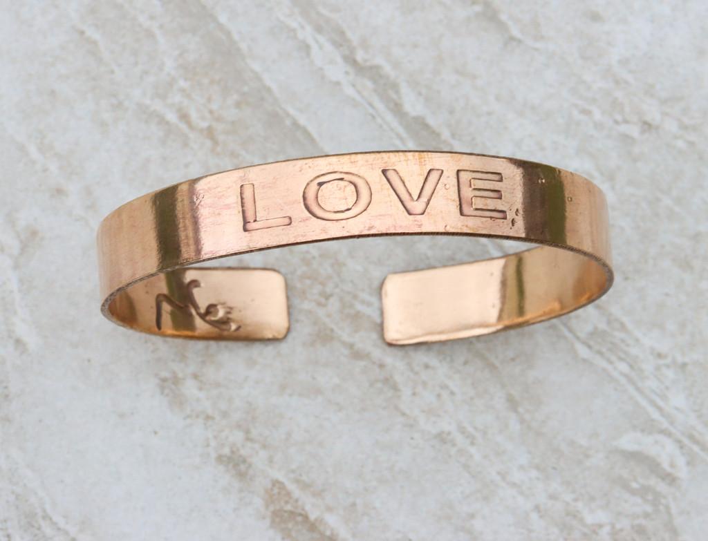 Love Copper Cuff Bracelet Handmade for men and women