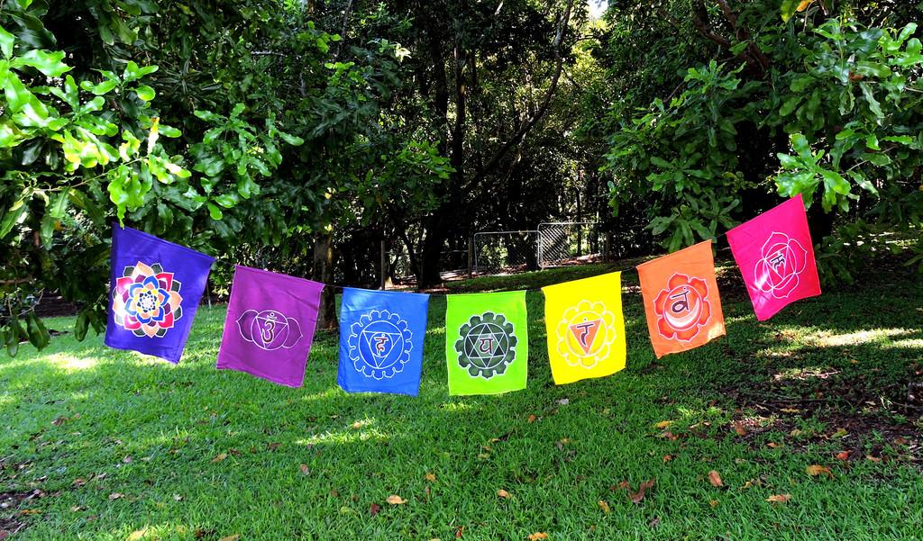 "Hand Batiked large Rainbow Seven chakra banner wall hanging prayer flags 14""X10"""