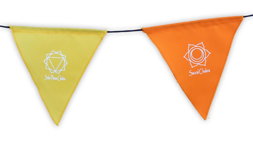 Handmade Triangle Seven Chakra Prayer Flags Heart Chakra, Root Chakra