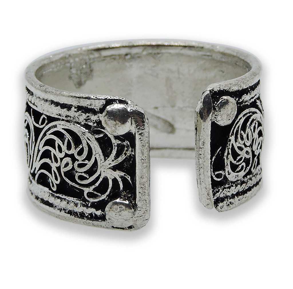 Handmade Tibetan Silver Adjustable Ring from Nepal (Flower, Adjustable)