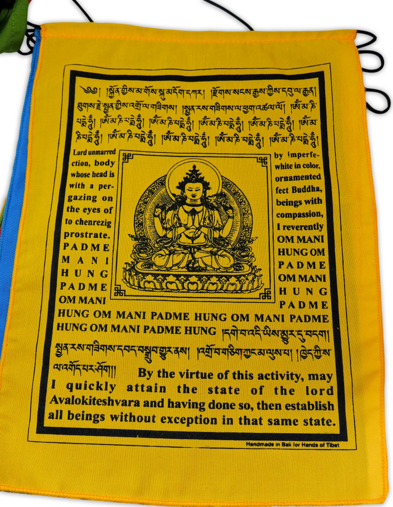 Handmade Buddha of Compassion Prayer flags with English Translation (9x12)