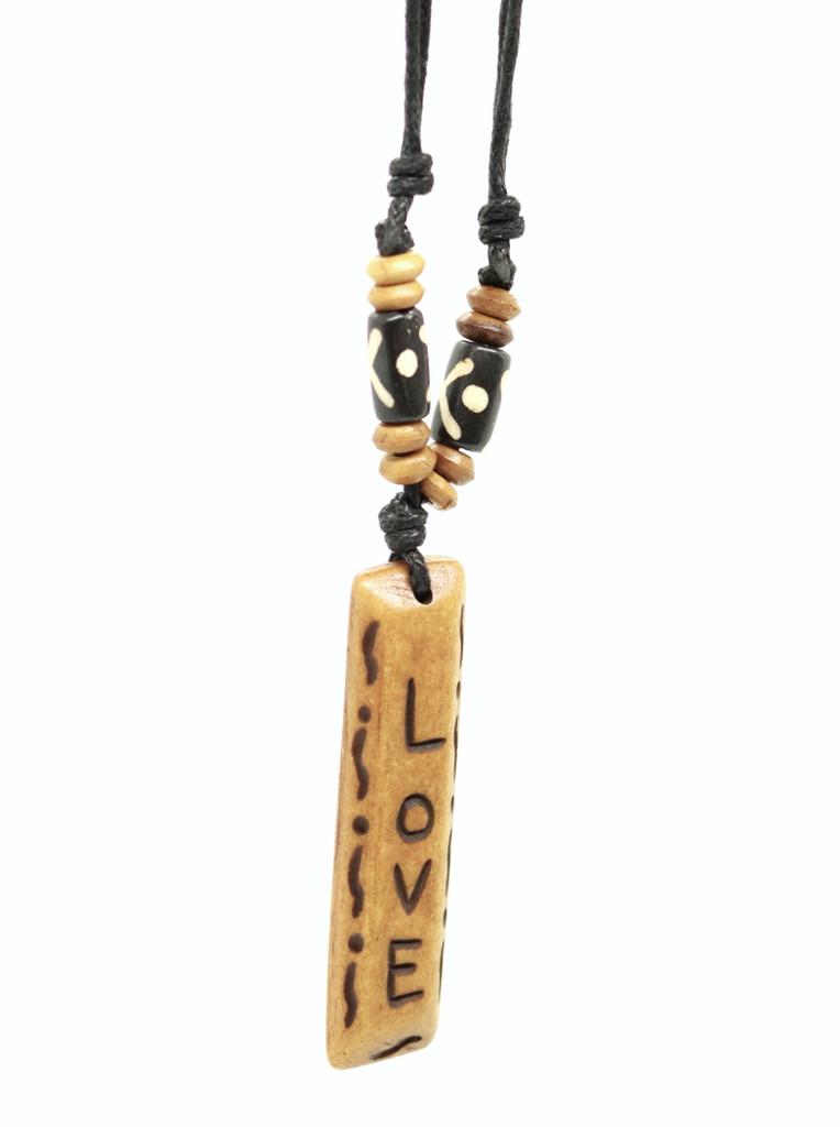 Handmade Love Message Bone Pendant For Men Or Women Boho Necklace