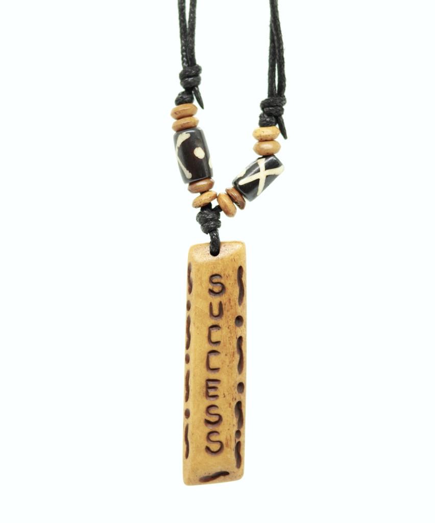 Handmade Success Message Bone Pendant For Men Or Women Boho Necklace