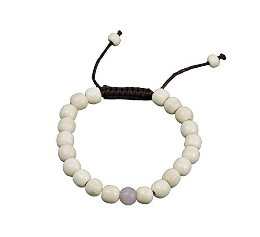 Tibetan Mala Yak Bone Wrist Mala Bracelet for Meditation (Rose quartz)