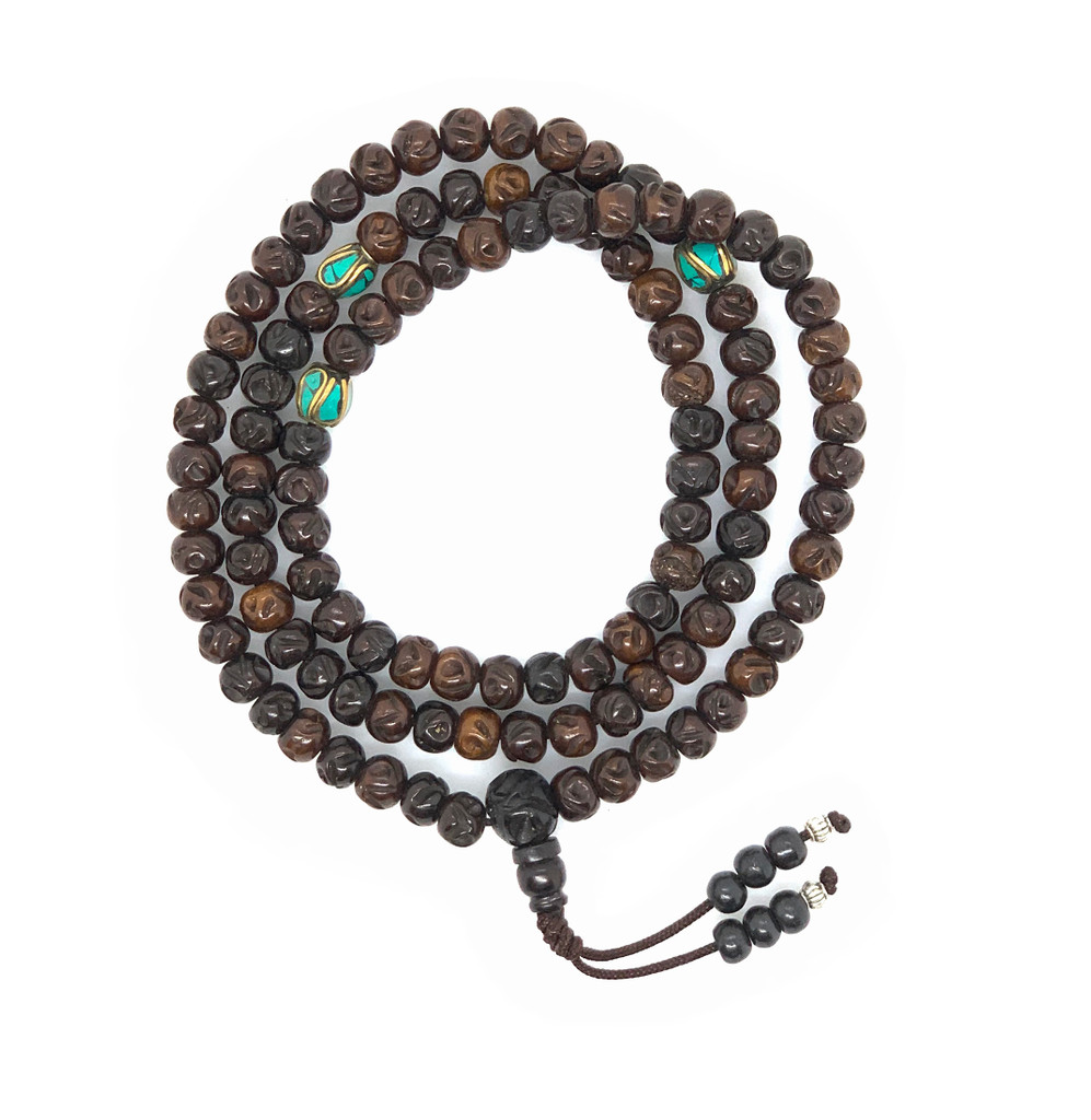 Handmade Tibetan Carved yak bone Mala 108 beads with brass and turquoise spacers